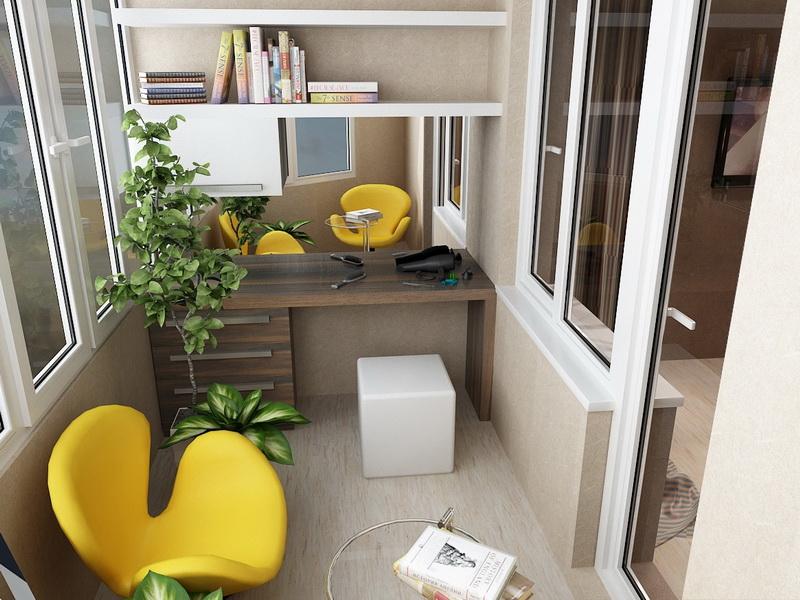 Отделка маленького балкона под личный кабинет