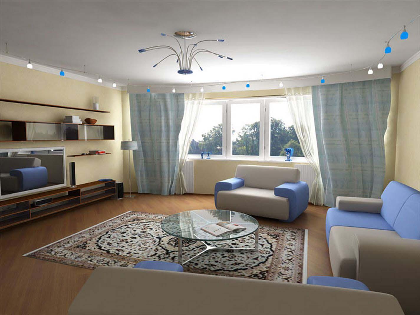 Очищение стен и выравнивание потолка в гостиной