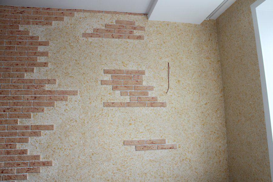 Отделка стен на кухне жидкими обоями