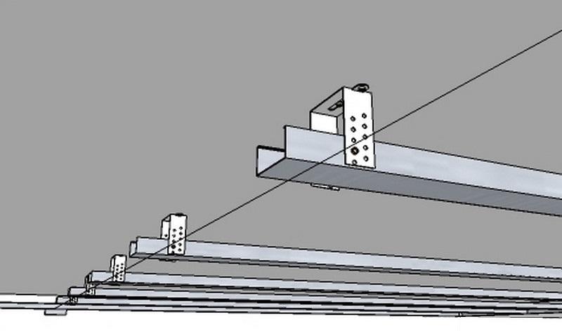 Схема натягивания нивелирной нити