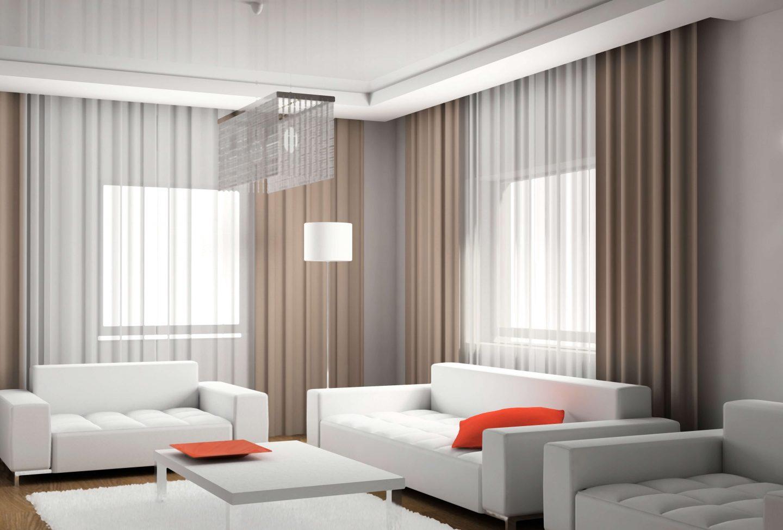 Выбор штор в гостиную в современном стиле