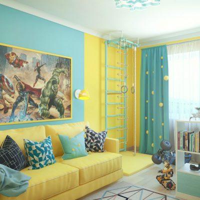 Детская комната в желтых тонах