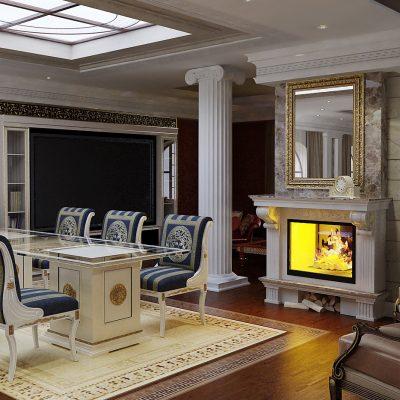 Дизайн гостиной в стиле римской классики