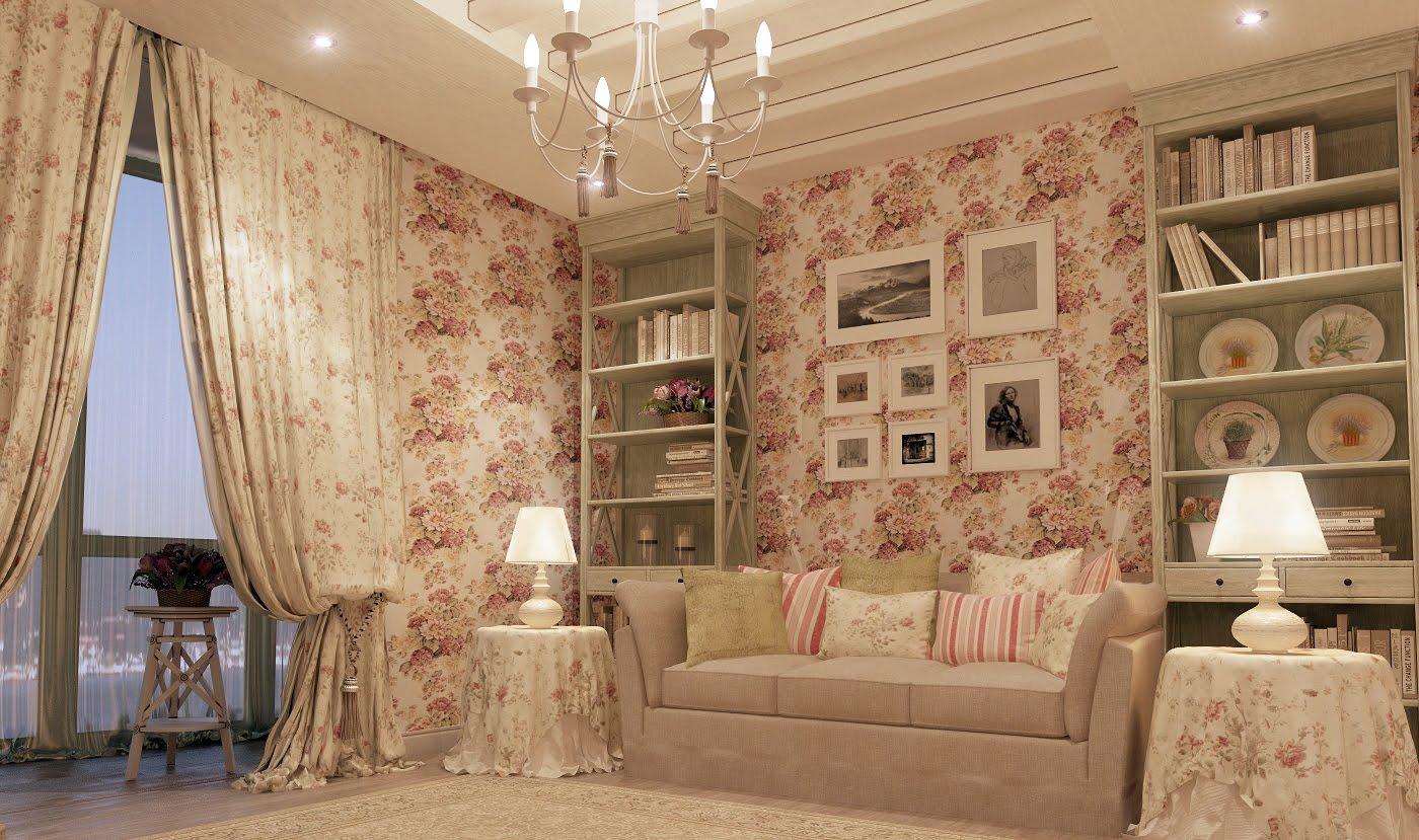 Дизайн гостиной в стиле шебби шик