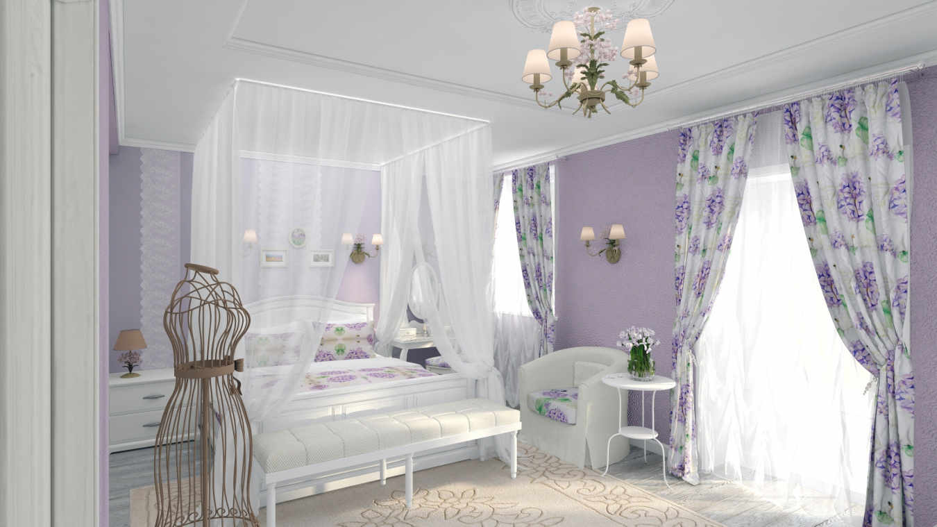 Дизайн проект спальни в стиле прованс