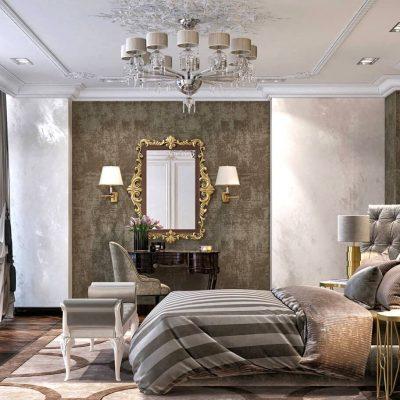 Интерьер большой спальни в классическом стиле