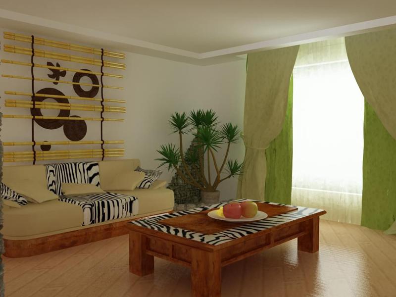 Интерьер современной гостиной в африканском стиле