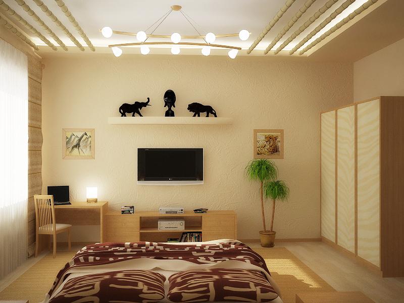 Строгая спальня в африканском стиле