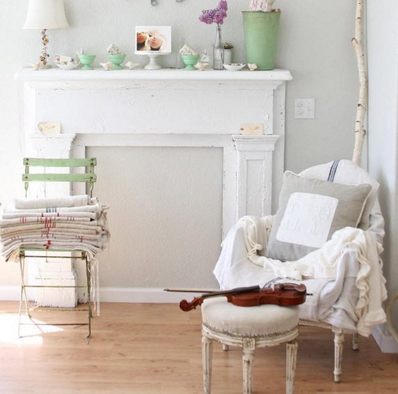 Деревянный пол для интерьера в стиле шебби-шик