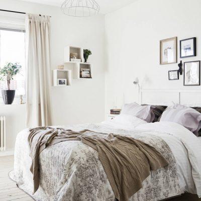 Шторы в скандинавском стиле спальни