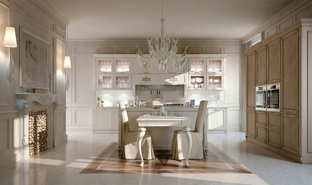 Просторная кухня в ампир стилистике