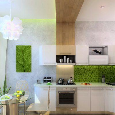 Белая кухня в эко стиле