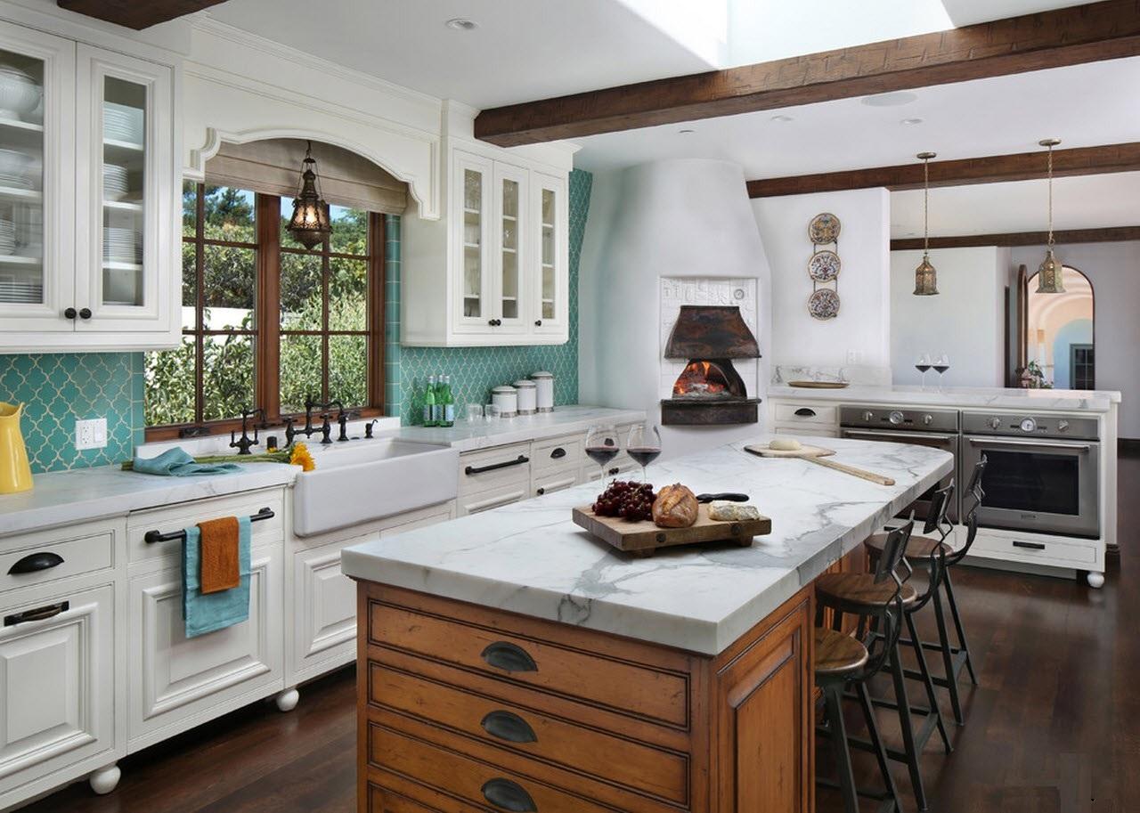 Цвет мебели в кухне погречески