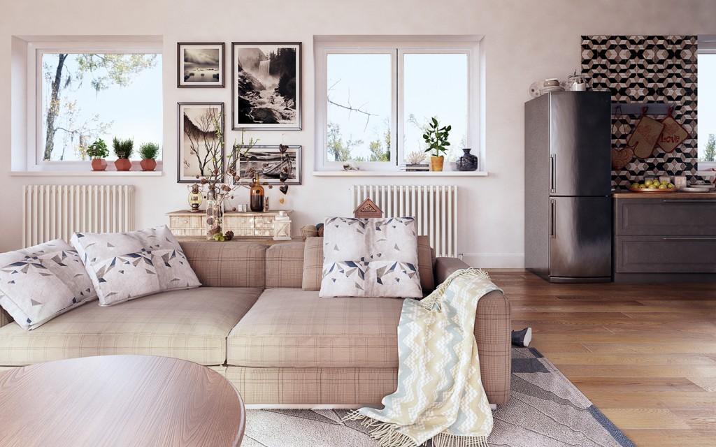 Деревянная бежево-коричневая гостиная