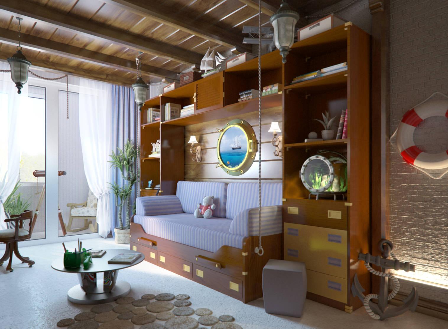 Дизайн комнаты школьника в морском стиле