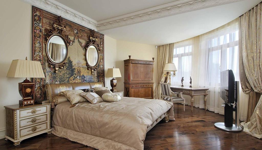 Фото интерьера спальни в стиле ампир