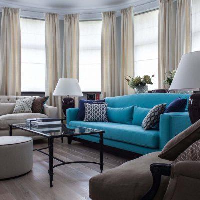 Фотография интерьера гостиной квартиры в стиле фьюжн