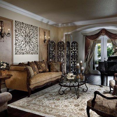 Фотография интерьера гостиной в викторианском стиле