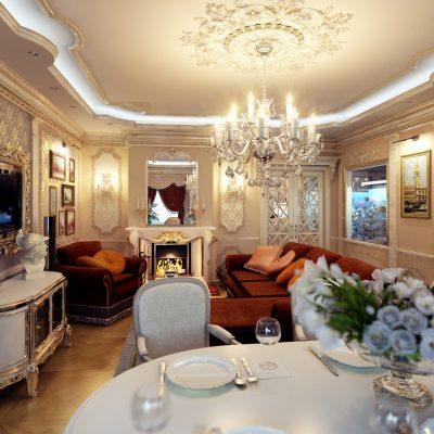 Гостиная совмещенная со столовой в стиле ампир