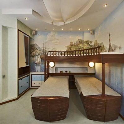 Интерьер детская спальня в морском стиле