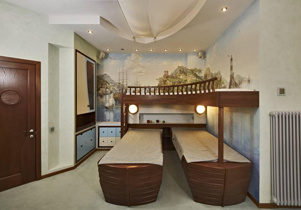 Интерьер детская спальня в морском стиле вид