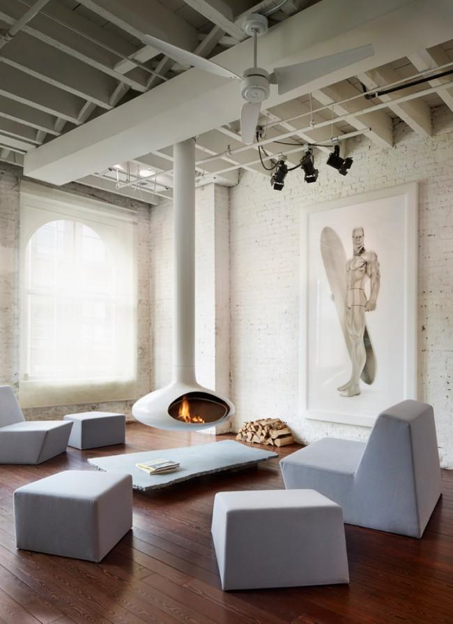 Интересный дизайн гостиной в стиле лофт