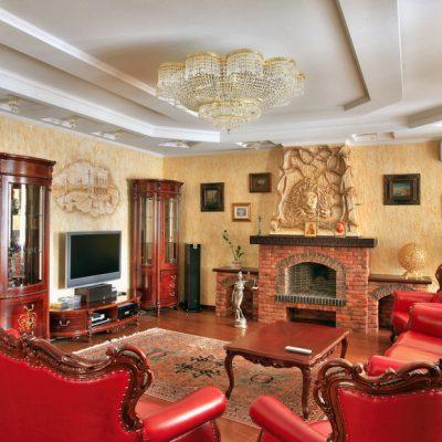 Камин в гостиной в викторианском стиле фото