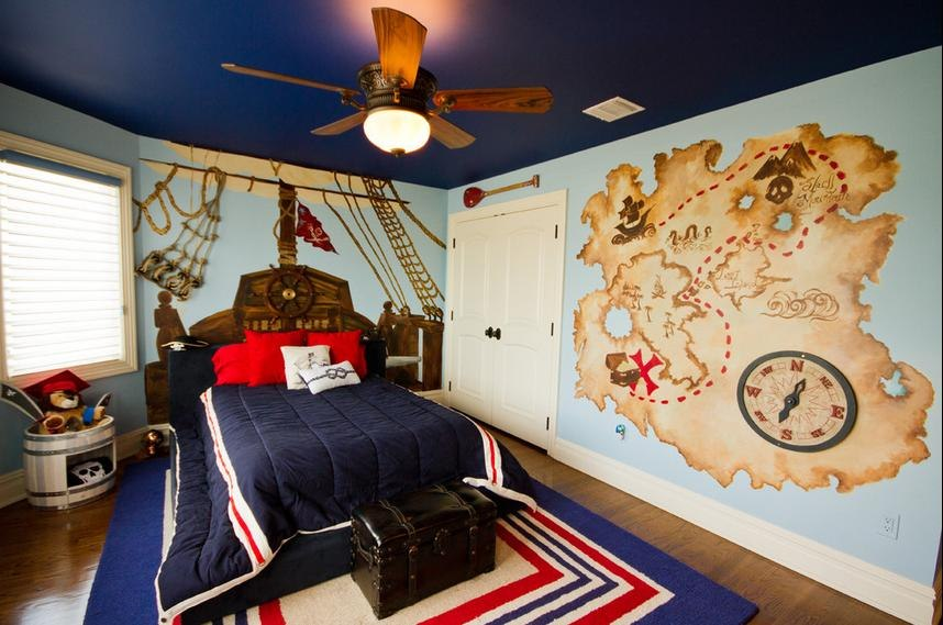 Комната для мальчика в морском стиле фото