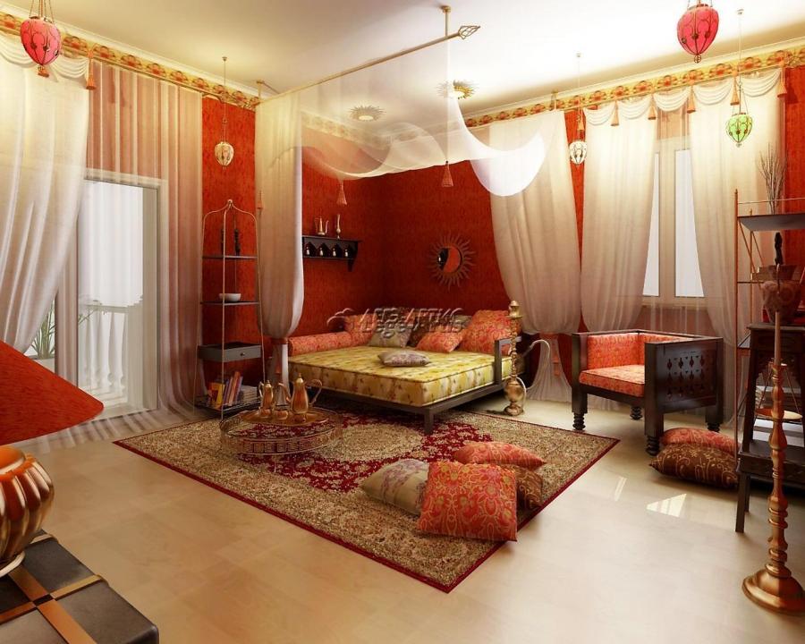 Комната в индийском стиле с уложенной паркетной доской
