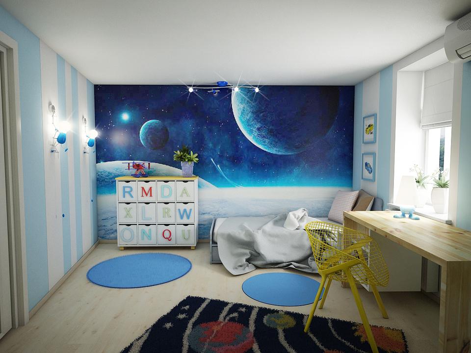Комната в космическом стиле для мальчика