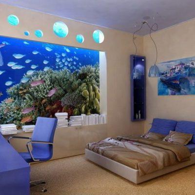 Комната в морском стиле с оформлением ниши фотообоями