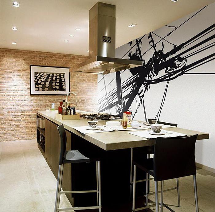 Красивая кухня в стиле фьюжн