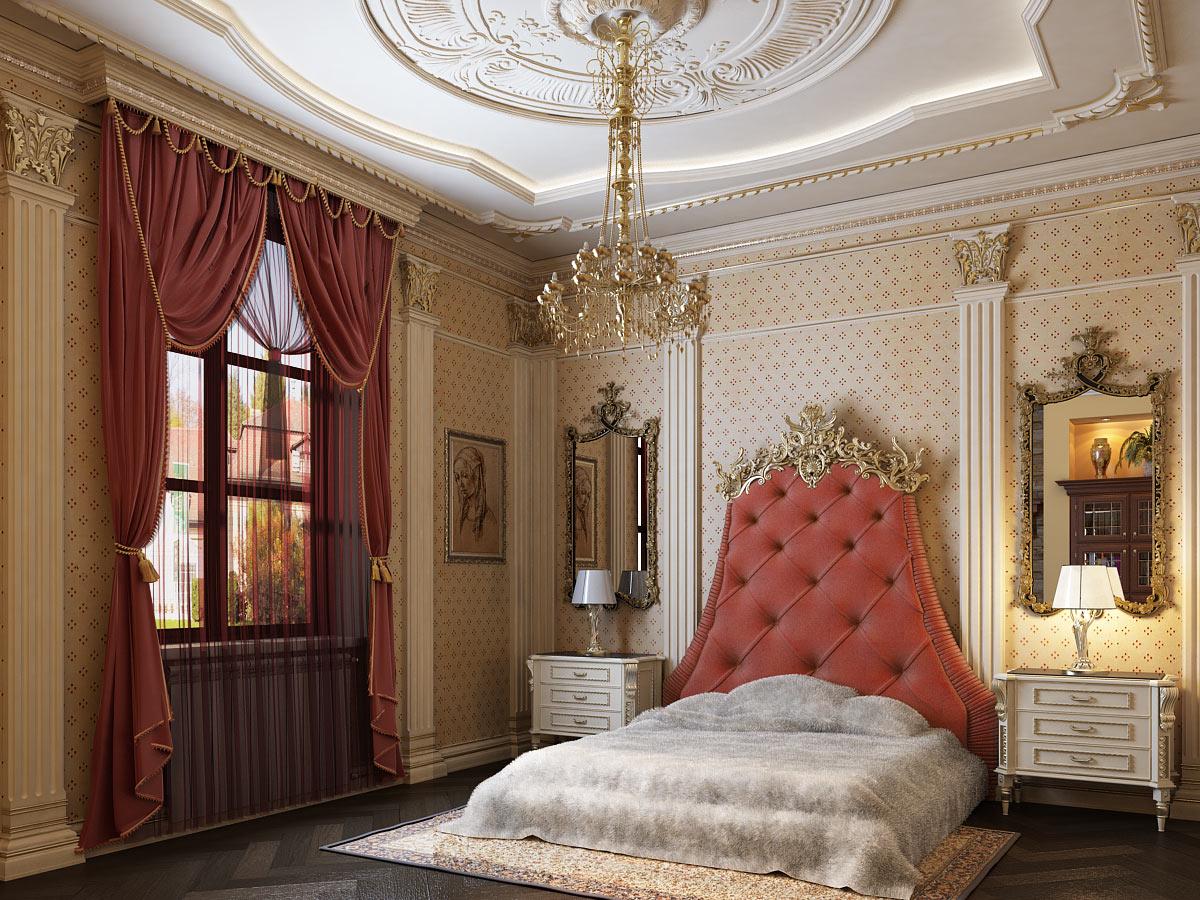 Кровать с высоким изголовьем в стиле ампир