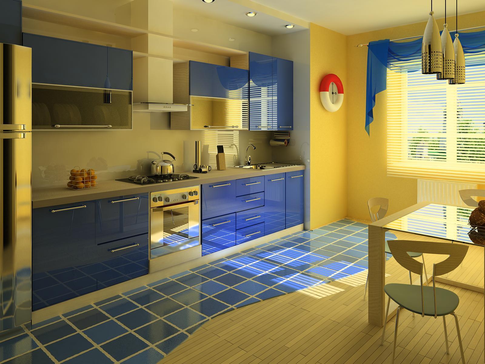 Кухни с синими фасадами фото