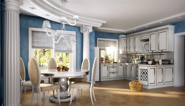 Бело-синяя кухня в греческом стиле