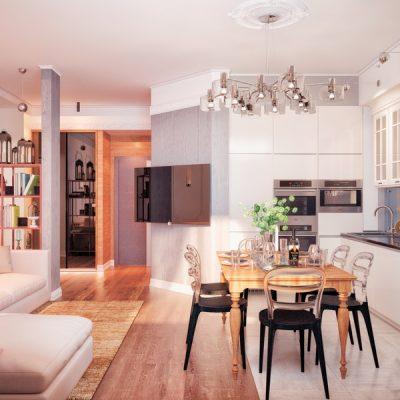 Кухня-гостиная в стиле фьюжн