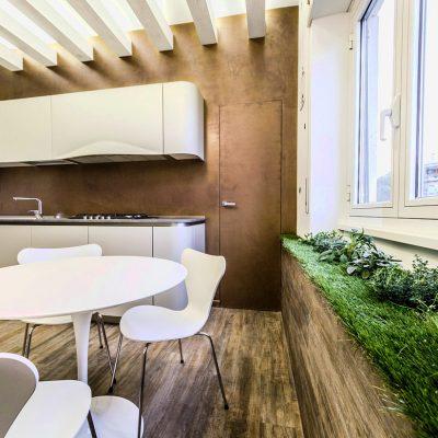 Маленькая прямая кухня в стиле эко