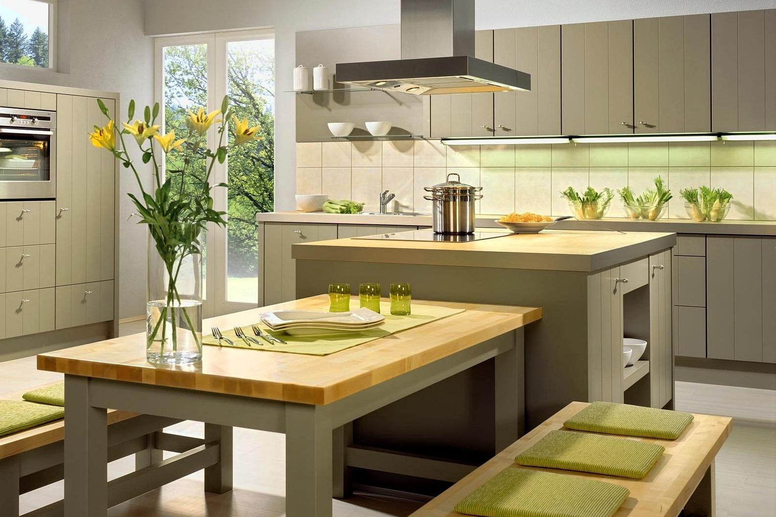 Маленькая угловая кухня в стиле эко