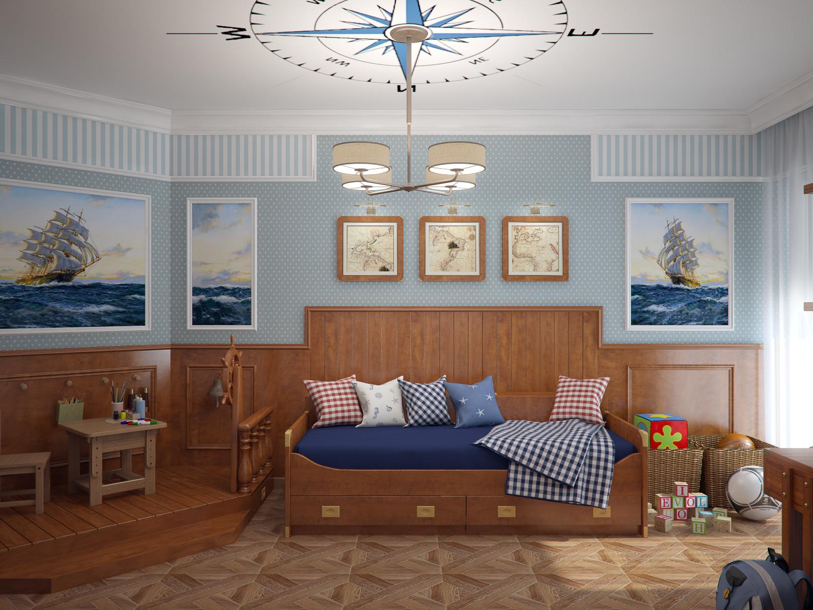 Морская тематика в интерьере комнаты