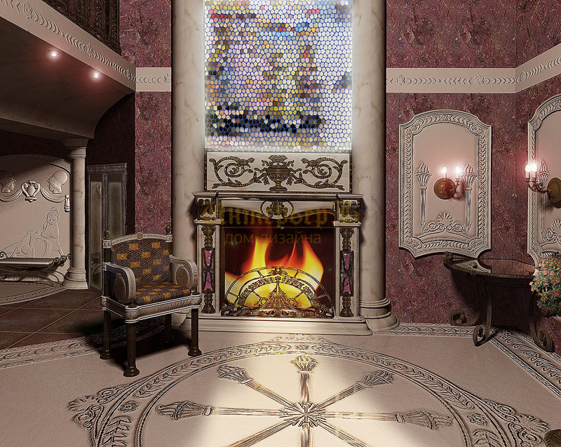 Мозаика на стене в гостиной
