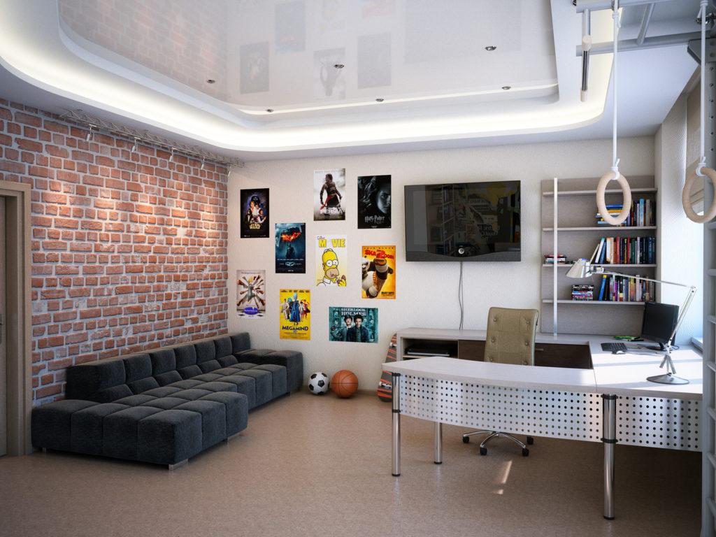 Натяжной потолок в комнате для подростка