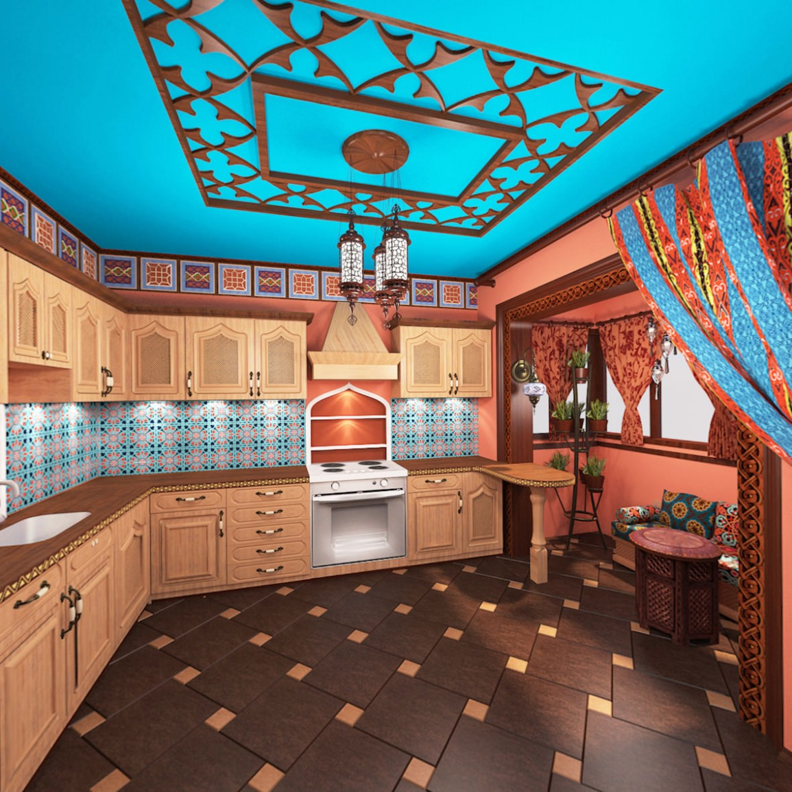 Отделка стен кухни в индийском стиле