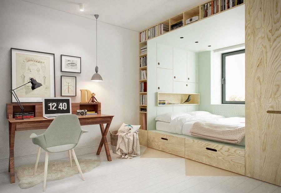 Зона кровати в комнате для подростка