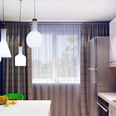 Серые шторы в стиле фьюжн с серой тюлью на кухню