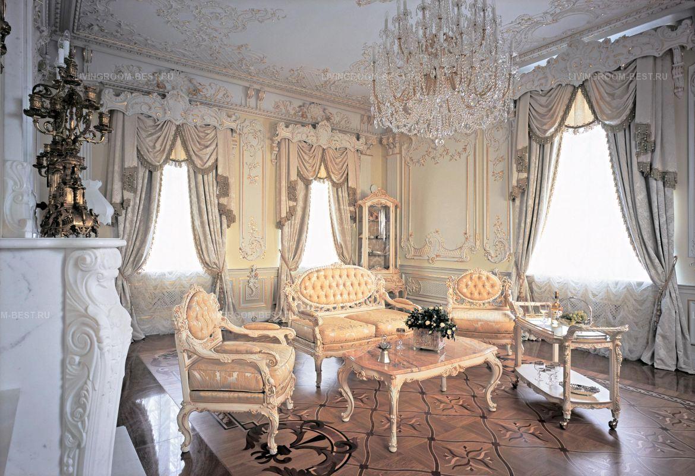 Шикарный интерьер готсиной в стиле рококо