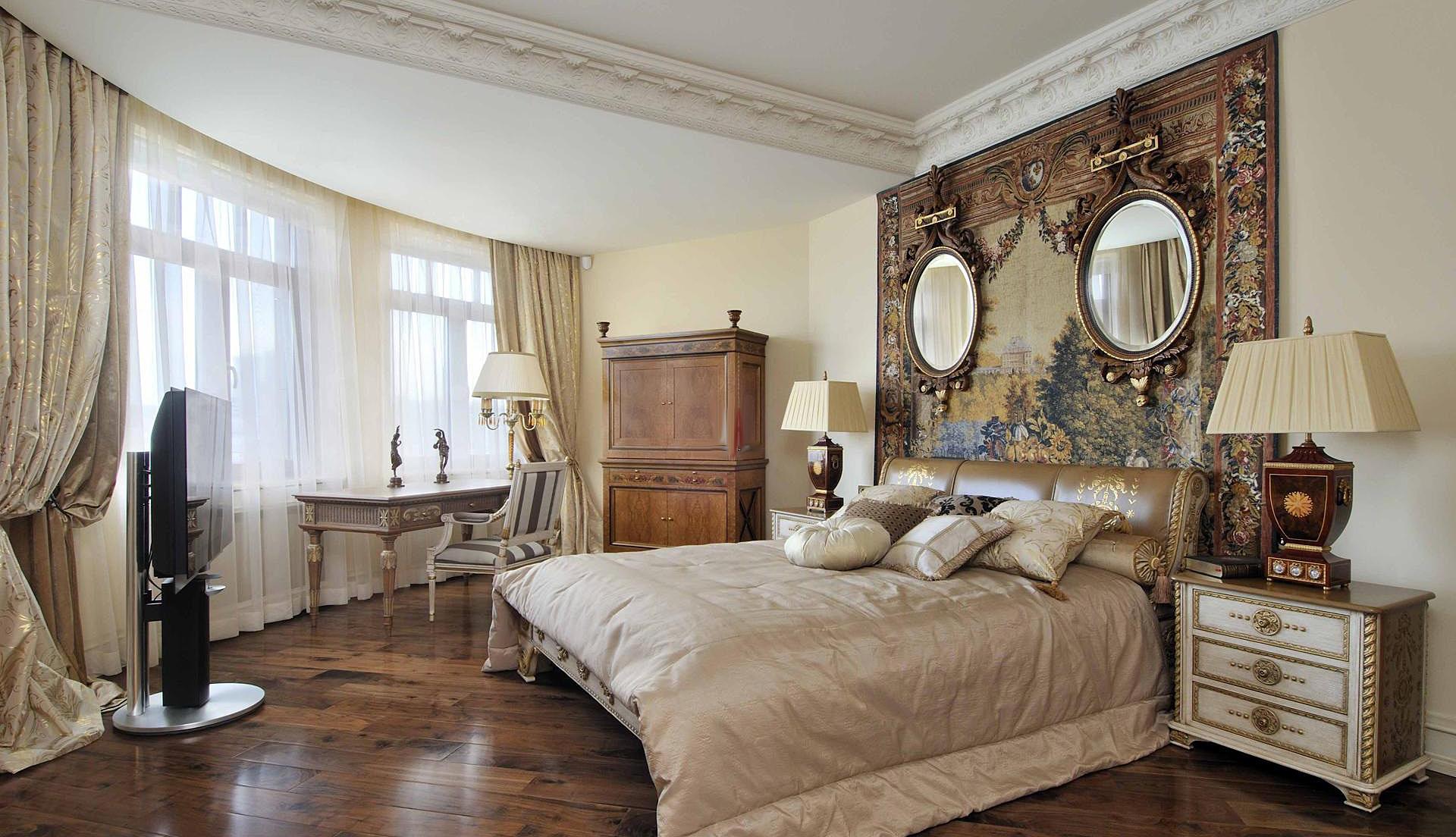Совмещенная спальня в стиле ампир