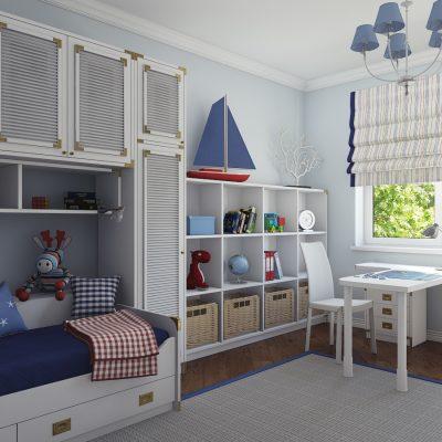 Светлая комната в морском стиле