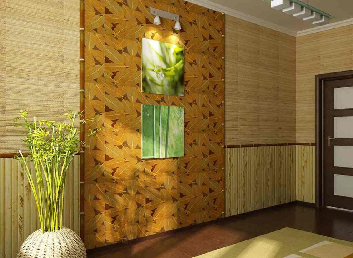 Бамбукоые обои в гостиной в экостиле