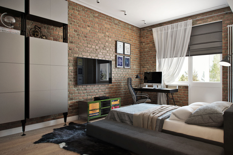Комната для юноши подростка в стиле лофт