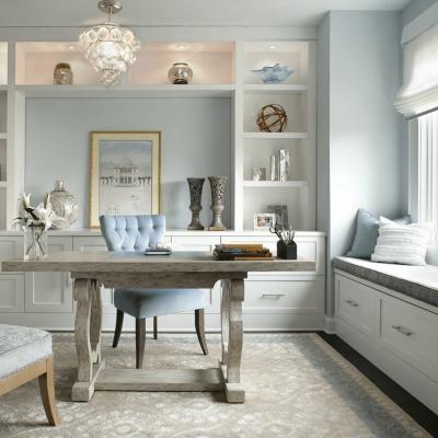 Бежево-голубой кабинет в стиле модерн